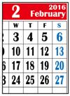 カレンダー2016年2月