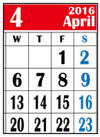 カレンダー2016年4月