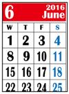 カレンダー2016年6月