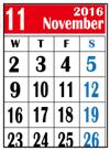 カレンダー2016年11月